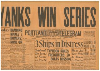Yanks Win World Series Bambino 3 Homers Babe Ruth Cardinals October 9 1928 B27