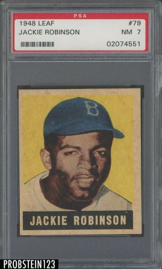 1948 Leaf 79 Jackie Robinson Dodgers Rc Rookie Hof Psa 7 Razor Sharp Corners