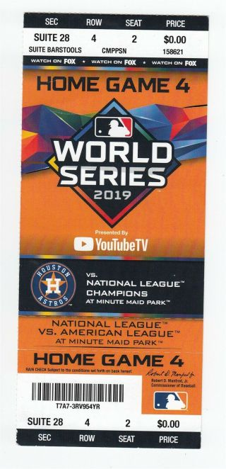 2019 World Series Game 7 Full Ticket Nationals @ Astros Clincher 51244