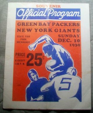 1939 Nfl Championship Pre Bowl Program Superbowl Packers 27 Giants 0