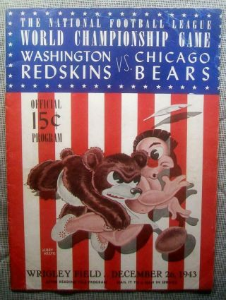 1943 Nfl Championship Pre Bowl Program Superbowl Vvrare Bears 41 Skins 21