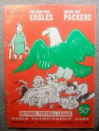 1960 Nfl Championship Pre Bowl Program Superbowl Eagles Take Packers 17 - 13