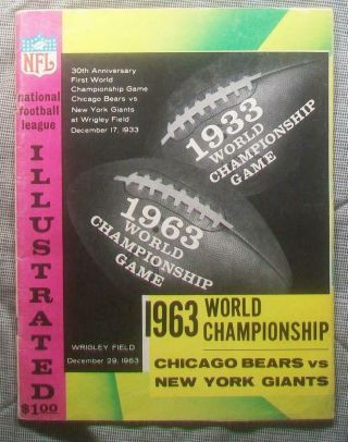 1963 Nfl Championship Pre Bowl Program Superbowl Bears 14 - 10 Bitter Cold