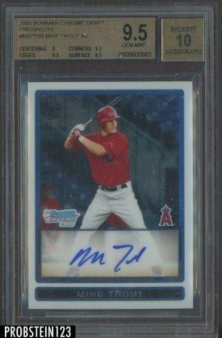 """2009 Bowman Chrome Mike Trout Angels Rc Rookie Auto Bgs 9.  5 """" Hot Card """""""