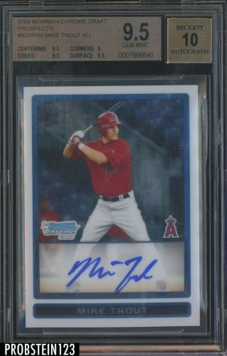 2009 Bowman Chrome Mike Trout Angels Rc Rookie Auto Bgs 9.  5 Hot Card