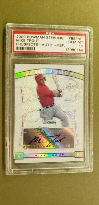 2009 Bowman Sterling Prospects Refractor Mike Trout Auto Rookie 37/199 Psa 10