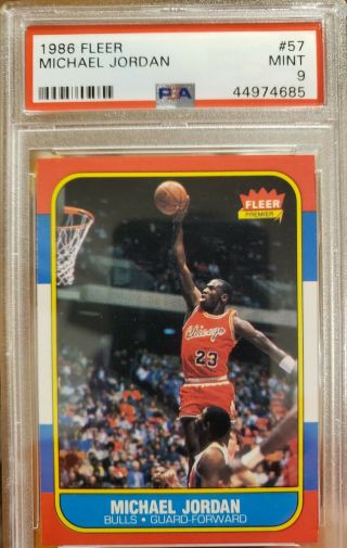 1986 Fleer 57 Michael Jordan Rc Bulls Hof Psa 9 Slab Centered