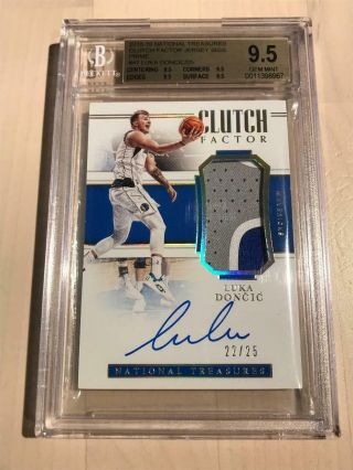 2018 - 19 National Treasures Luka Doncic Rpa Rc Auto Patch 22/25 Bgs 9.  5 True Gem