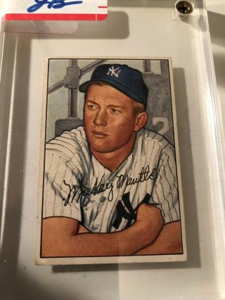 1952 Bowman 101 Mickey Mantle Yankees In Plastic Case