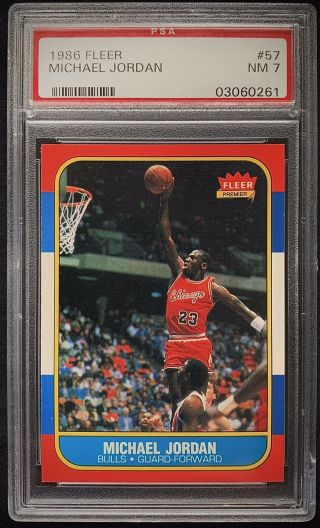 1986 Fleer 57 Michael Jordan Rc Rookie Psa 7 Nm
