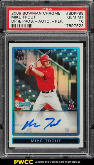 2009 Bowman Chrome Refractor Mike Trout Rookie Rc Auto /500 Psa 10 Gem Mt (pwcc)