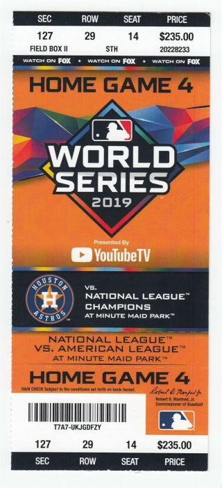 2019 World Series Game 7 Full Ticket Nationals @ Astros Clincher 51226