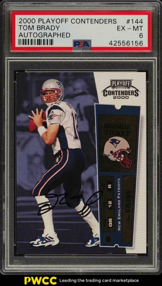 2000 Playoff Contenders Tom Brady Rookie Rc Auto 144 Psa 6 Exmt (pwcc)