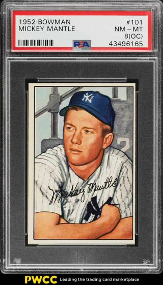 1952 Bowman Mickey Mantle 101 Psa 8 (oc) Nm - Mt (pwcc)