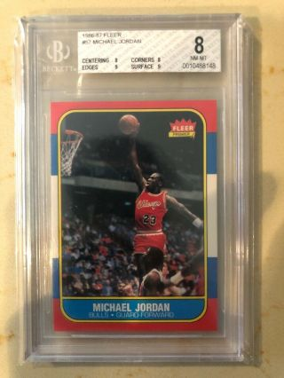 1986 Fleer 57 Michael Jordan Rc Bulls Hof Bgs 8 /.  5 Away From 8.  5 (8,  8,  9,  9)