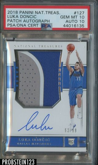 2018 - 19 National Treasures Luka Doncic Rc Patch /99 Psa 10 Psa/dna 10 Auto Pop 2