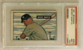 1951 Bowman Mickey Mantle Rookie Rc 253 Psa 7 (oc) Nm Wow