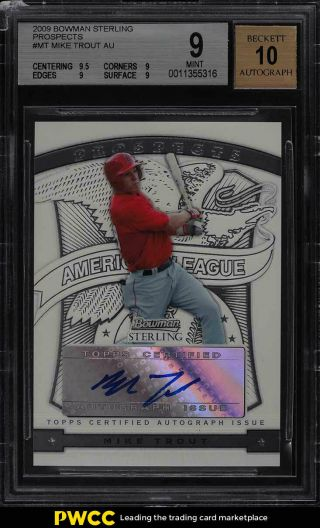 2009 Bowman Sterling Prospects Mike Trout Rookie Rc Auto Mt Bgs 9 (pwcc)