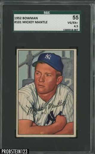 1952 Bowman 101 Mickey Mantle Yankees Rc Rookie Hof Sgc 55 Vg - Ex,  4.  5