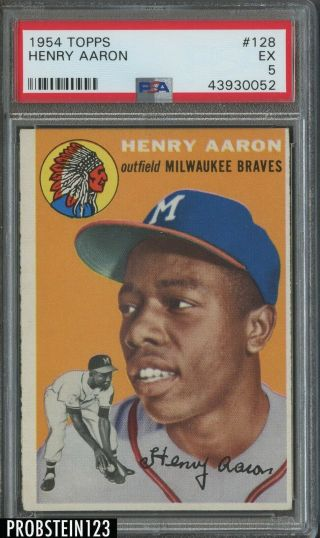 "1954 Topps 128 Hank Aaron Braves Rc Rookie Hof Psa 5 Ex "" Hot Card """