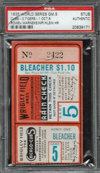 1935 World Series Ticket Stub Game 5 At Wrigley Field Psa Authentic