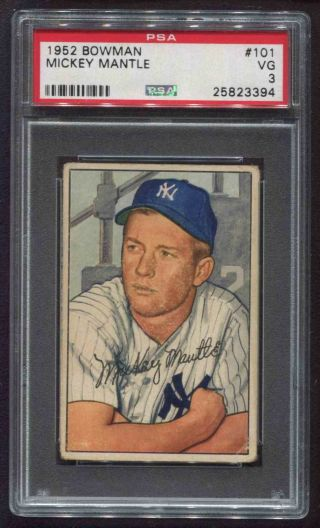 1952 Bowman 101 Mickey Mantle Yankees Psa 3 Vg