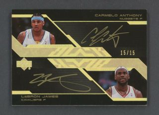 2007 - 08 Ud Black Carmelo Anthony Lebron James Dual Gold Ink Auto 15/15 Jersey