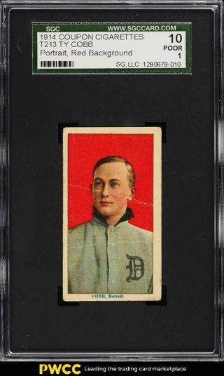 1914 T213 Coupon Type 2 Ty Cobb Portrait Sgc 1 Pr (pwcc)