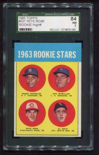 1963 Topps 537 Pete Rose Reds Rookie Rc Sgc 7