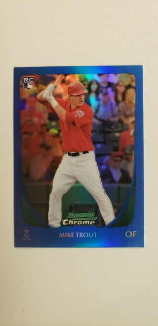 2011 Bowman Chrome Blue Refractor Mike Trout Rookie 175