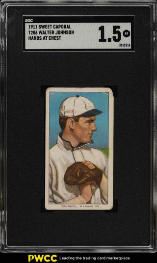 1909 - 11 T206 Walter Johnson Hands At Chest Sgc 1.  5 Fr (pwcc)