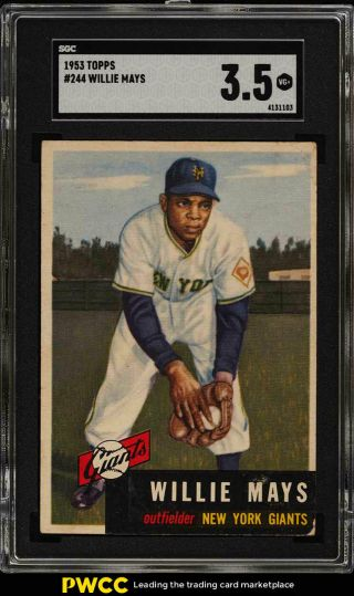 1953 Topps Willie Mays Short Print 244 Sgc 3.  5 Vg,  (pwcc)