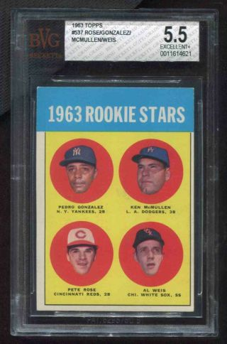 1963 Topps 537 Pete Rose Reds Rookie Rc Bvg 5.  5