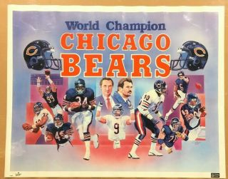 "C.  Hayes 1986 Chicago Bears World Champion Poster Payton Ditka Mcmahon 28 "" X 22 """