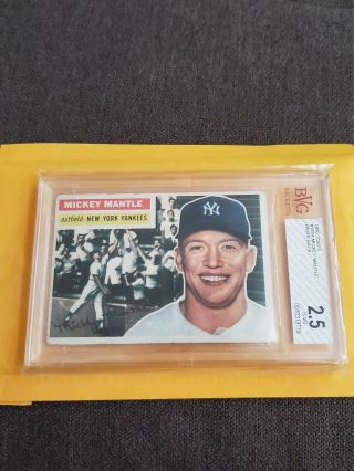 1956 Topps 135 Mickey Mantle Yankees Hof Bvg 2.  5 G - Vg
