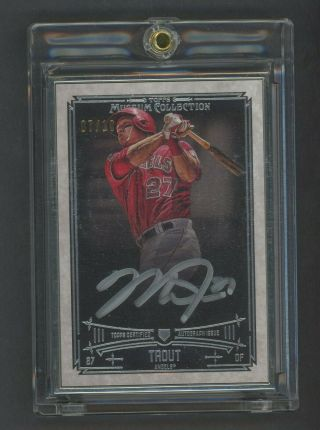 2015 Topps Museum Framed Mike Trout Angels Silver Ink Auto 7/10