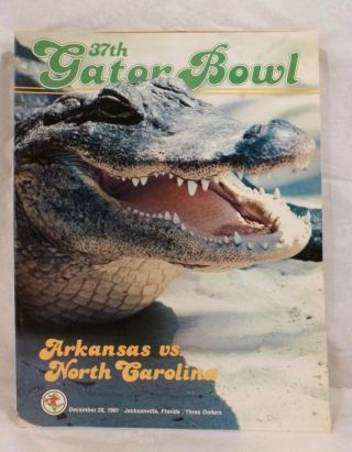1981 Arkansas Razorbacks Vs North Caroline Tar Heels Gator Bowl Football Program