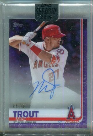 2019 Topps Clearly Mike Trout Purple Clearly Authentic Auto 7/10 Angels Ssp