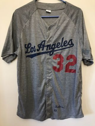 Los Angeles Dodgers 1963 Sandy Koufax Gray Throwback Jersey 32 - Men