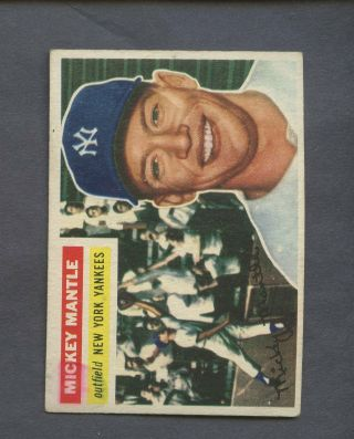 1956 Topps 135 Mickey Mantle Yankees Hof Back W/ Glue & Stain On Back
