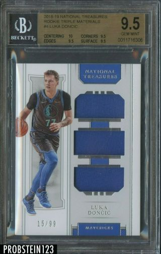 2018 - 19 National Treasures Luka Doncic Rc Rookie Triple Jersey 15/99 Bgs 9.  5