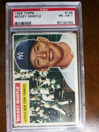 1956 Topps 135 Mickey Mantle Yankees Psa 1 - Pr